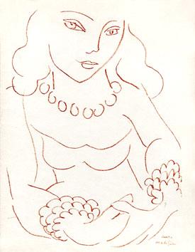 Matisse Henri : Lithographie d'interprétation : Portrait de Lydia