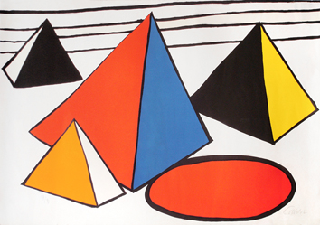 Original signed lithograph de  : Four pyramids with red circle