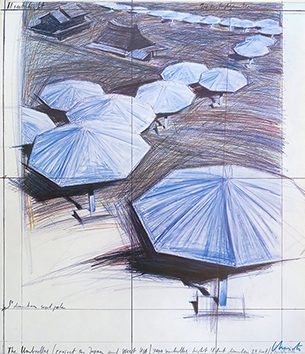 Estampe signée de Christo : Umbrellas 2