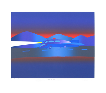 Original signed screenprint de  : Road at night