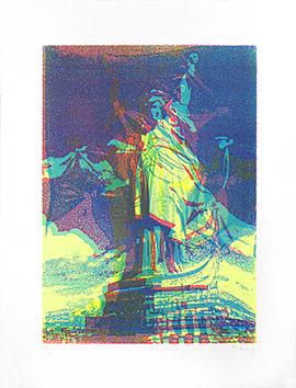 Lithographie originale signée de  : Statue de la Liberté VII