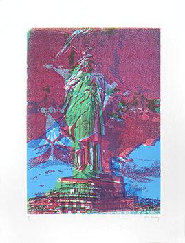 Lithographie originale signée de  : Statue de la Liberté VIII