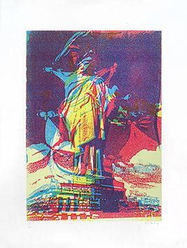 Lithographie originale signée de  : Statue de la Liberté IX