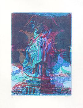 Lithographie originale signée de  : Statue de la Liberté X