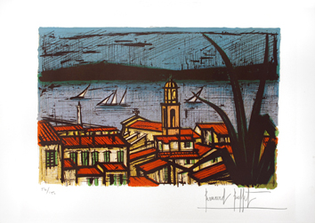 Original signed lithograph de  : View of Saint-Tropez