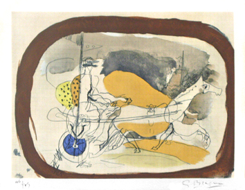 Signed lithograph de Braque Georges : Le char