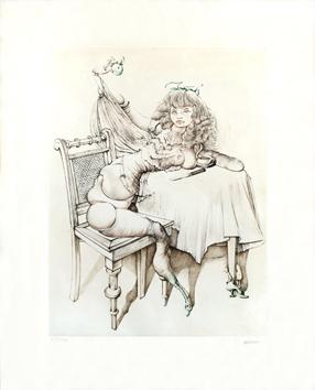 Bellmer Hans : Signed print : Le Petit déjeuner à la poupée