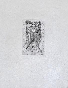 Gravure originale de  : L'oiseau en cage
