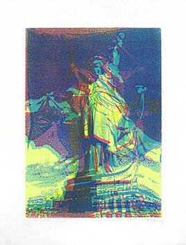 Signierte Originallithographie de  : Freiheitsstatue VII b