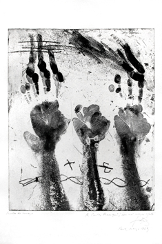 Original signed etching de  : Hands prints
