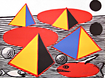 Dedicated original lithograph de  : Pyramids and fishes