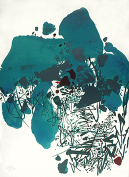 Original signed lithograph de Chu Teh-Chun : Blue composition