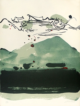 Original signed lithograph de Chu Teh-Chun : Mountain