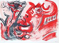 Signierte Originallithographie de  : Tête de guerrier