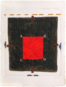 Signed etching carborundum de  : Positionnement du rouge