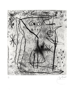 Original signed etching de  : Young girl with two birds
