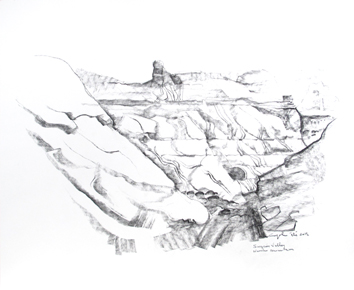 Dessin original signé de Cayol Pierre : Surprise Valley, Navaho Mountain III