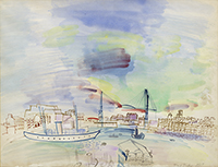 Original signed watercolour de Dufy Raoul : Le vieux port de Marseille