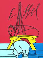 Signierte Originallithographie de  : Hommage à la Tour Eiffel