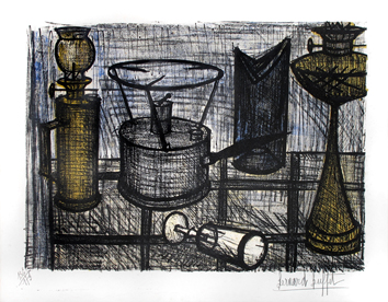 Original signed lithograph de  : Lamp oil