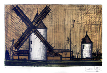 Original signed lithograph de  : Wind mills