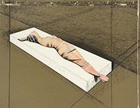 Técnica mixta firmada de Christo : Wrapped Woman, Project for the Institute of Contemporar