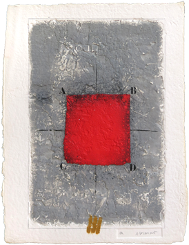 Signed etching carborundum de  : Les positionnements rouges