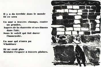 Lithographie originale de  : Mur au moustachu