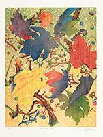 Signierte originale Holzschnitt de  : Vignes de Corciano