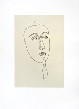 Original signed lithograph de  : Les six masques voyants, plate III
