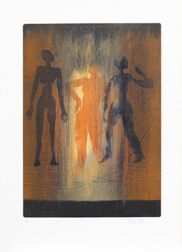 Original signed monotype de  : Three characters II