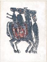 Originale Lithographie de  : Départ à cheval