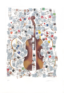 Original signed screenprint de  : Tubes and violin