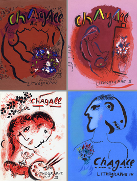 Chagall Marc : Livre avec lithographies : Chagall Lithographe Vol. I, II, III, IV