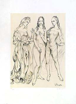 Lithographie originale signée de  : Les trois graces de la jeunesse