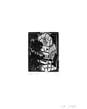 Gravure originale signée de  : La cage II