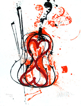 Original signed lithograph de  : Anger of violins VI