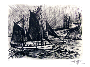 Original signed etching de Buffet Bernard : The Tuna boat