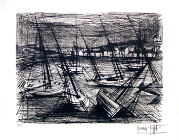 Original signed etching de Buffet Bernard : Sailboats high and dry at low tide
