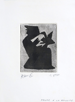 Signierter Originalkupferstich de  : La femme à la mouette II