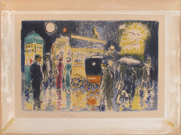 Lithographie originale de  : Place Pigalle by night