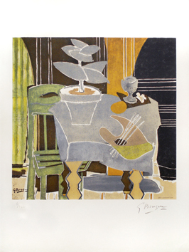 Signed lithograph de  : Nature morte à la palette