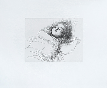 Gravure originale de  : Sleeping child