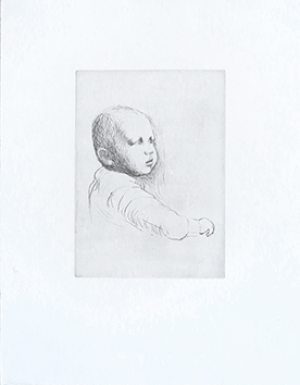 Gravure originale de Moore Henry : Child study