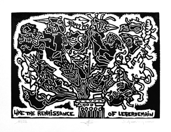 Original signed woodcut de Scanreigh Jean-Marc : Like the Renaissance of Legerdemain