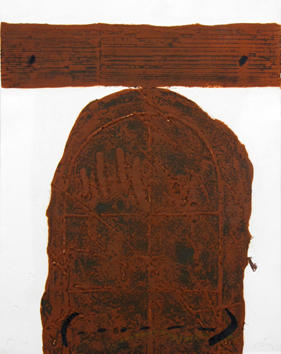 Signed etching carborundum de  : Brown door