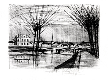 Original signed etching de Buffet Bernard : Canal à Soissons