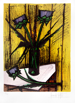 Original signed lithograph de  : Flowers of artichokes