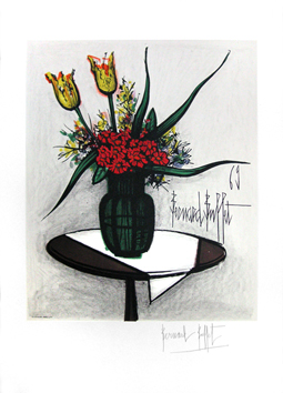 Signed lithograph de Buffet Bernard : Bunch of flowers