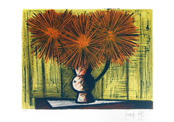 Original signed lithograph de  : Dahlias on yellow bottom